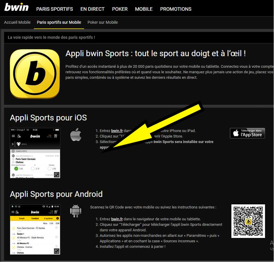 Telecharger mobile BWIN